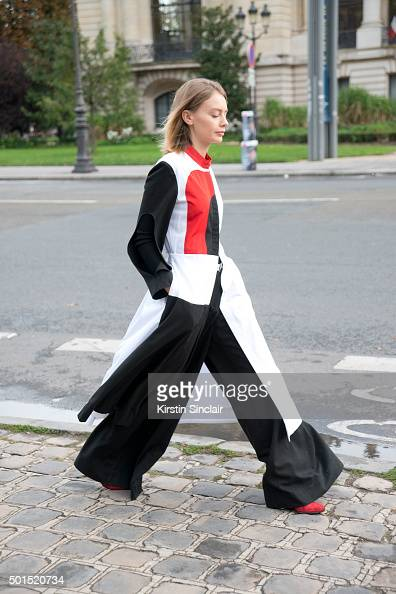 Fashion Stylist Alina Gelzina wears Anton Belinskiy on day 8 during Paris Fashion Week Spring/Summer 2016/17 on October 6 2015 in Paris France Alina...