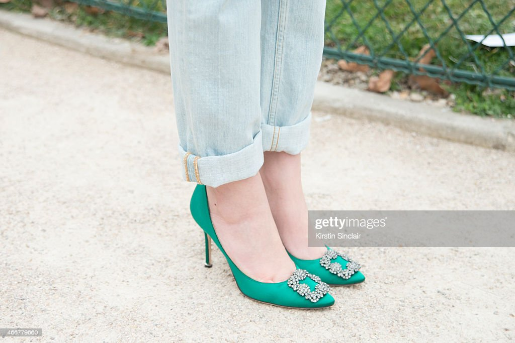 Fashion Stylist Alina Gelzina wears Manolo Blahnik shoes on day 8 of Paris Collections Women on March 10 2015 in Paris France
