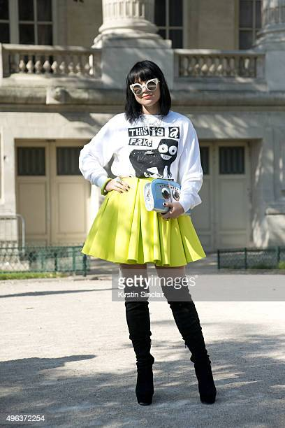Fashion Stylist Amanda Van Effrink wears Fendi sunglasses Bas Kosters top H and M skirt and Asos shoes and bag on day 5 during Paris Fashion Week...