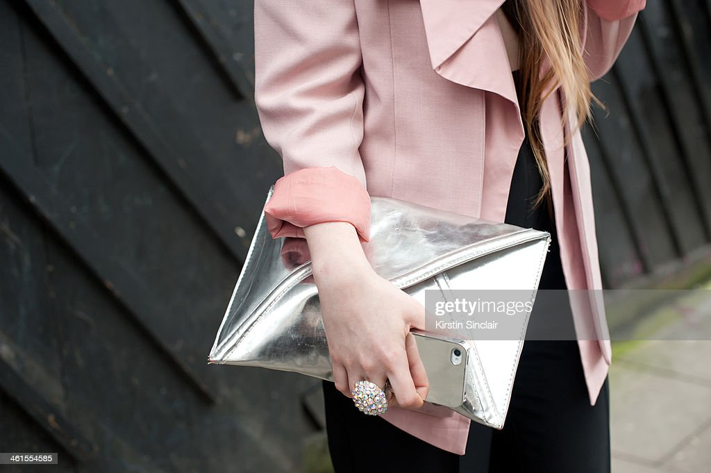 Fashion Stylist and blogger Magda Wieclaw wears a She Inside blazer, Primark suit and H and M bag day 3 of London Mens Fashion Week Autumn/Winter 2014, on January 08, 2014 in London, England.