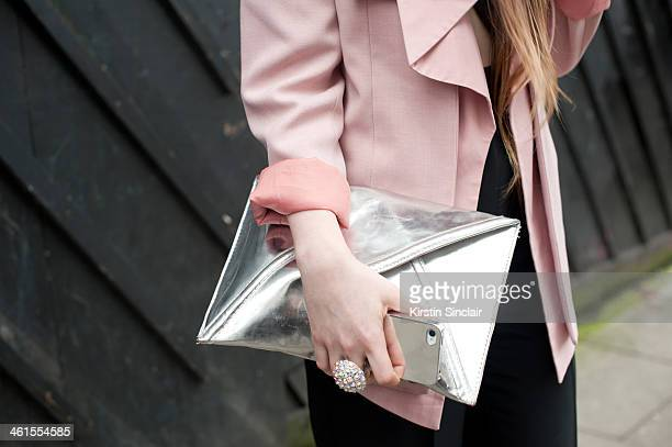 Fashion Stylist and blogger Magda Wieclaw wears a She Inside blazer Primark suit and H and M bag day 3 of London Mens Fashion Week Autumn/Winter 2014...