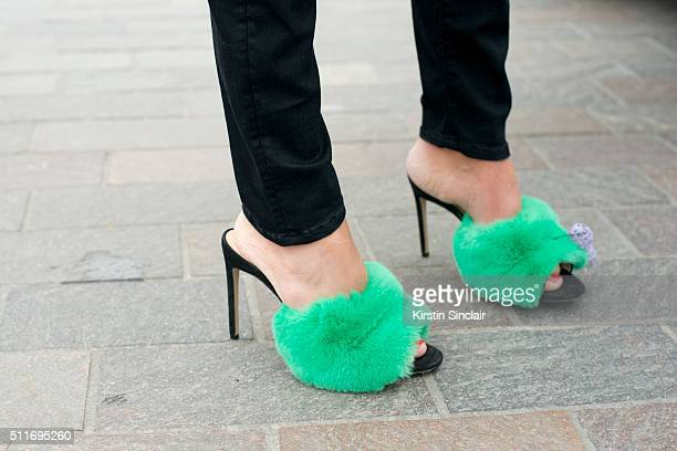 Fashion stylist and consultant Erica Pelosini wears Natasha Zinko shoes on day 3 during London Fashion Week Autumn/Winter 2016/17 on February 21 2016...