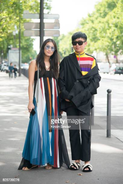 Fashion Stylist and director at Hong Kong Tatler Justine Lee wears a Chloe dress and Reve sunglasses with Fashion stylist and style director Declan...