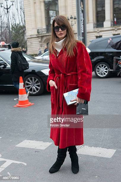 Fashion stylist and fashion consultant Ece Sukan wears a Hakaan Yildirim coat Celine top and Yazbukey bag on day 8 of Paris Collections Women on...