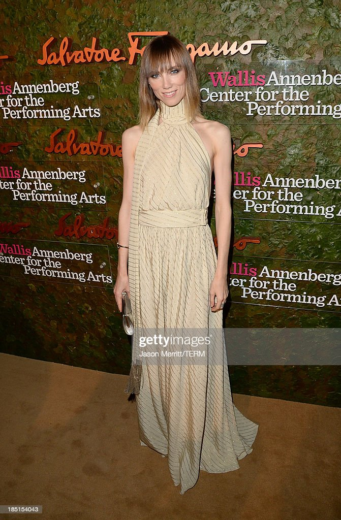 Fashion stylist Anya Ziourova, wearing Ferragamo, arrives at the Wallis Annenberg Center for the Performing Arts Inaugural Gala presented by Salvatore Ferragamo at the Wallis Annenberg Center for the Performing Arts on October 17, 2013 in Beverly Hills, California.