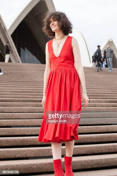 Fashion Stylist Chloe Hill is wearing a Maggie Marilyn dress at Sydney Opera House on May 14 2017 in Sydney Australia