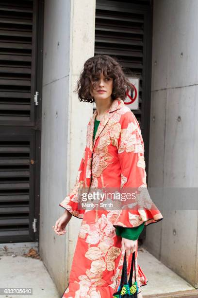 Fashion Stylist Chloe Hill is wearing a Tome coat and a vintage bag during MercedesBenz Fashion Week Resort 18 Collections at Carriageworks on May 15...