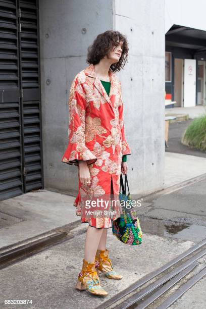 Fashion Stylist Chloe Hill is wearing a Tome cost Romance was Born and Beau Coups boots and a vintage bag during MercedesBenz Fashion Week Resort 18...
