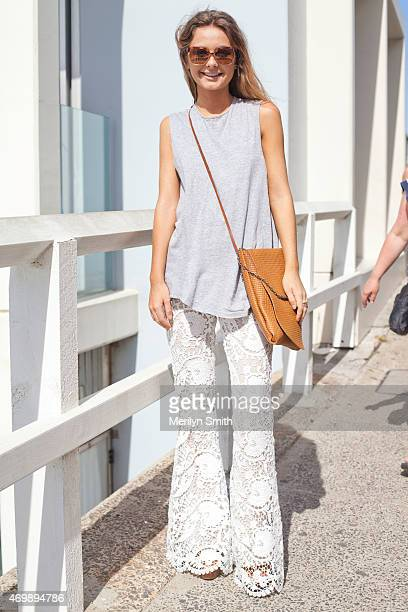 Fashion Stylist Danielle Mulham wears a Stone Cold Fox jumpsuit vintage bag Basic top and Chloe sunglasses at MercedesBenz Fashion Week Australia...