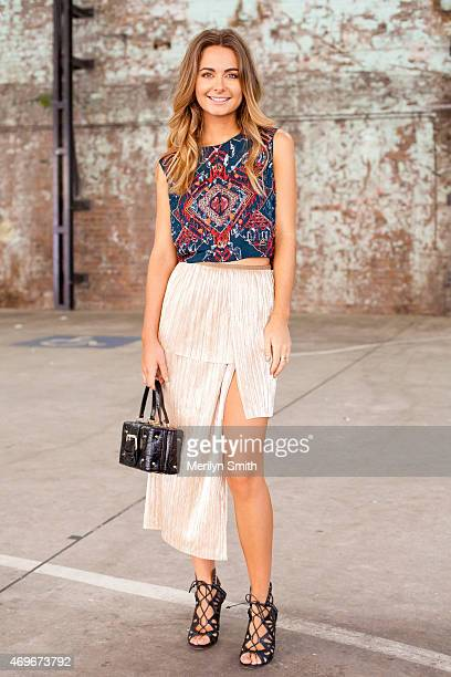 Fashion Stylist Danielle Mulham wears an Antique Boutique top Bec and Bridge skirt vintage bag and Dolce Vita shoes at MercedesBenz Fashion Week...