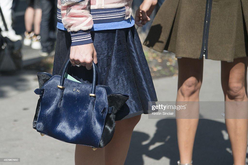 Fashion stylist Elisa Nalin wearing Phillip Lim jacket, Fendi skirt and a Nina Ricci day 3 of Paris Haute Couture Fashion Week Autumn/Winter 2014, on July 8, 2014 in Paris, France.