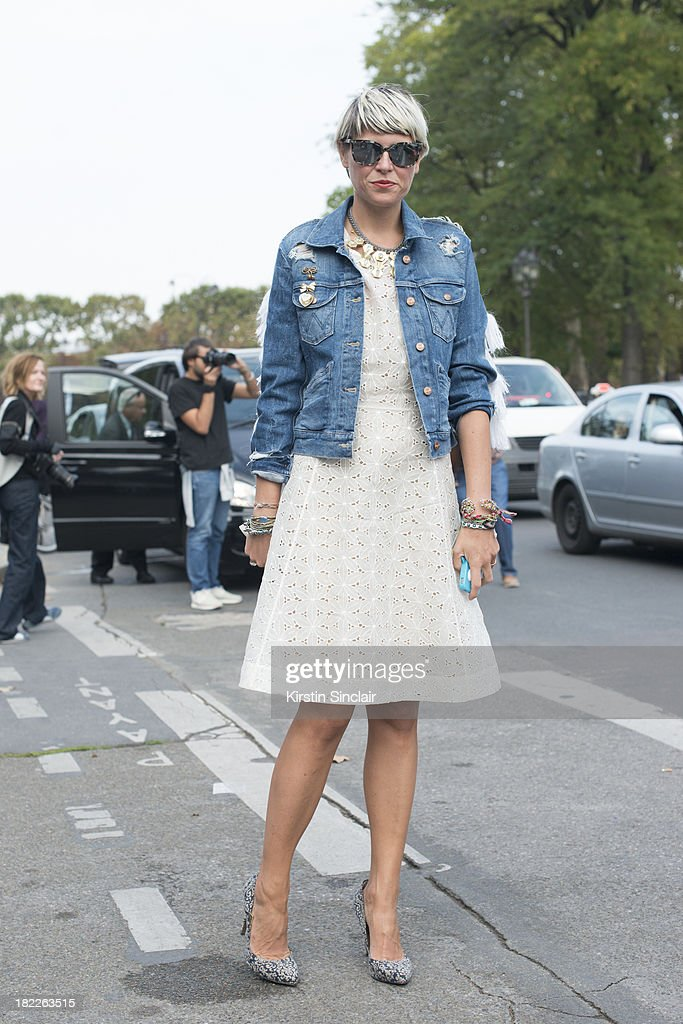 Fashion stylist Elisa Nalin wears Micheala Birger jacket and a Ventillo dress on day 5 of Paris Fashion Week Spring/Summer 2014, Paris September 28, 2013 in Paris, France.