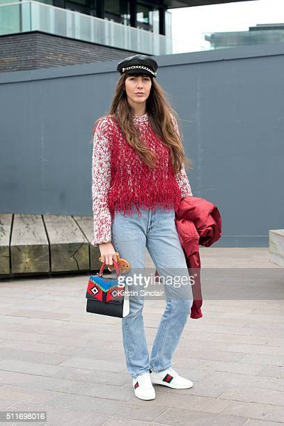 Fashion stylist Estelle Pigault wears a Pretty Little Thing jacket Leviâs jeans Eugenia Kim hat Gayeon Lee top Les Petites Jouers bag and Gucci...