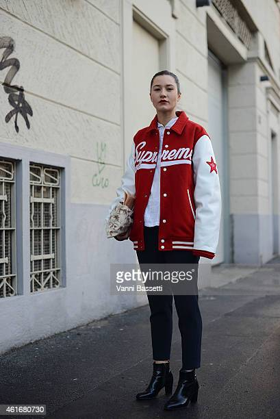 Fashion stylist Francesca Cefis poses wearing a Supreme bomber on January 17 2015 in Milan Italy
