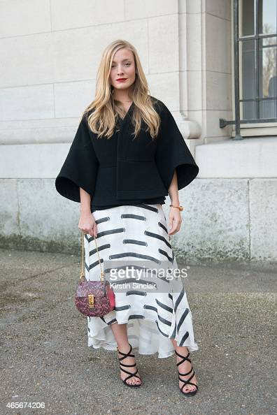 Fashion stylist Kate Foley wears a Chloe bag at the Chloe show on day 6 of Paris Collections Women on March 08 2015 in Paris France