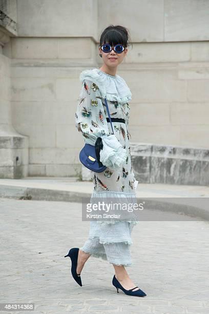 Fashion Stylist Leaf Greener wears a Chanel dress Celine bag Yasbuki sunglasses and Reline Carvilla shoes on day 3 of Paris Fashion Week Haute...