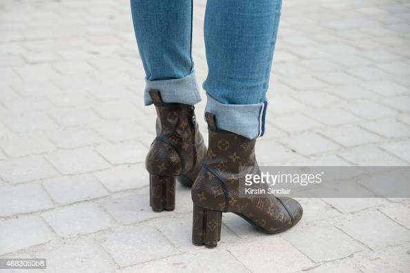 Fashion stylist Leaf Greener wears all Louis Vuitton with Calvin Klein jeans on day 9 of Paris Collections Women on March 11 2015 in Paris France