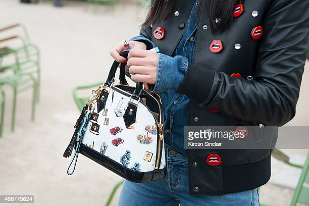 Fashion stylist Leaf Greener wears Calvin Klein jeans Yazbukey jacket Louis Vuitton bag and Brunello Cucinelli shirt on day 8 of Paris Collections...