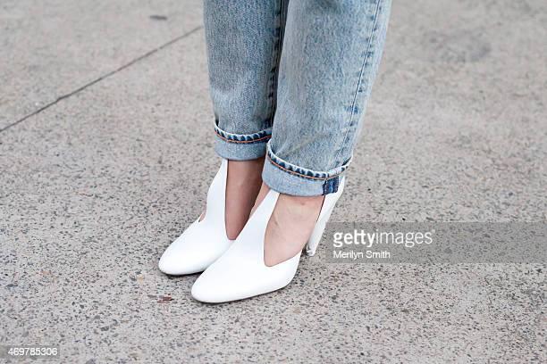 Fashion Stylist Leaf Greener wears Celine shoes at MercedesBenz Fashion Week Australia 2015 at Carriageworks on April 12 2015 in Sydney Australia