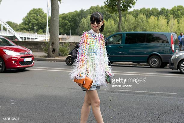 Fashion Stylist Leaf Greener wears Romance was Born on day 1 of Paris Fashion Week Haute Couture Autumn/Winter 2015 on July 5 2015 in Paris France