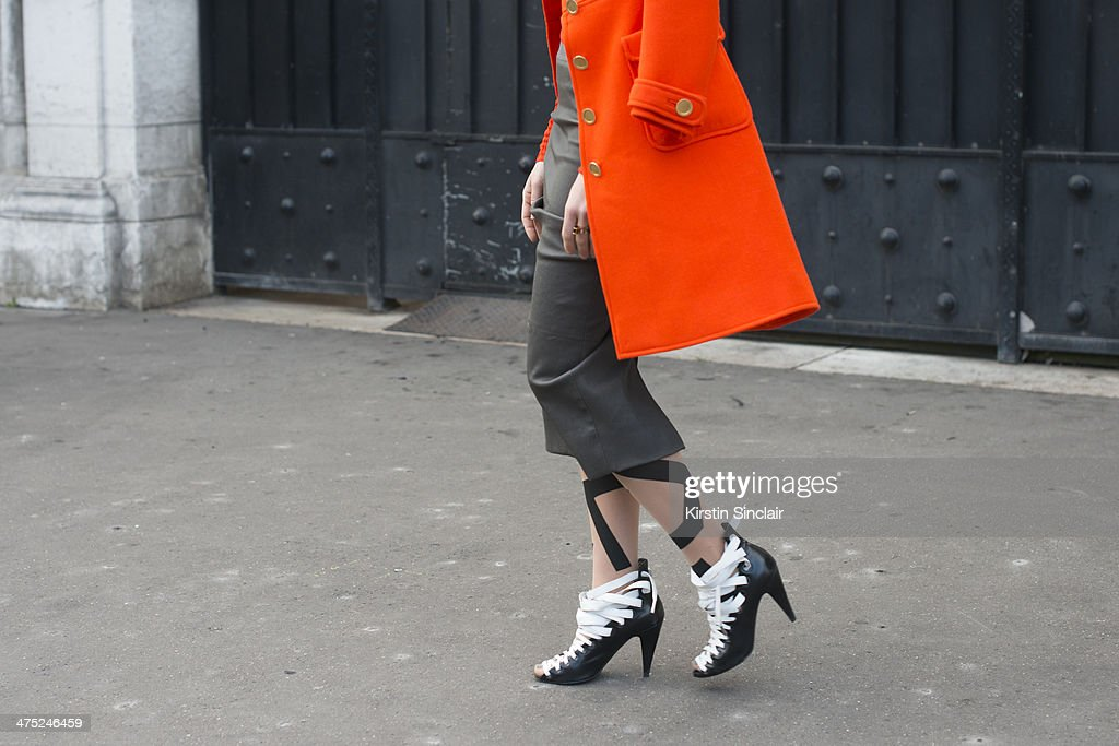 Fashion Stylist Megan Gray wears Balenciaga shoes, Rick Owens skirt and Wolford stockings on day 2 of Paris Collections: Women on February 26, 2014 in Paris, France.