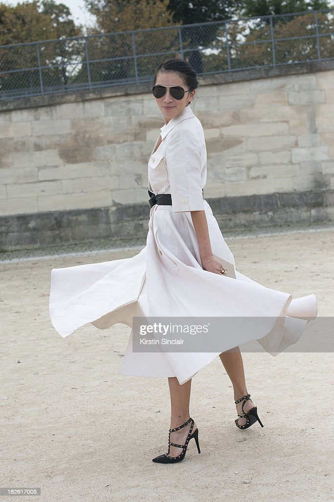Fashion stylist Tina Leung wearing a vintage Lanvin dress and Valentino shoes on day 8 of Paris Fashion Week Spring/Summer 2014, Paris October 01, 2013 in Paris, France.