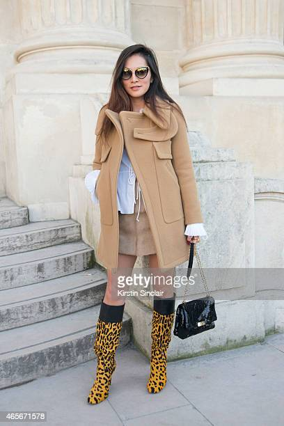 Fashion stylist Tina Leung wears a Chloe top jacket and skirt at the Chloe show on day 6 of Paris Collections Women on March 08 2015 in Paris France
