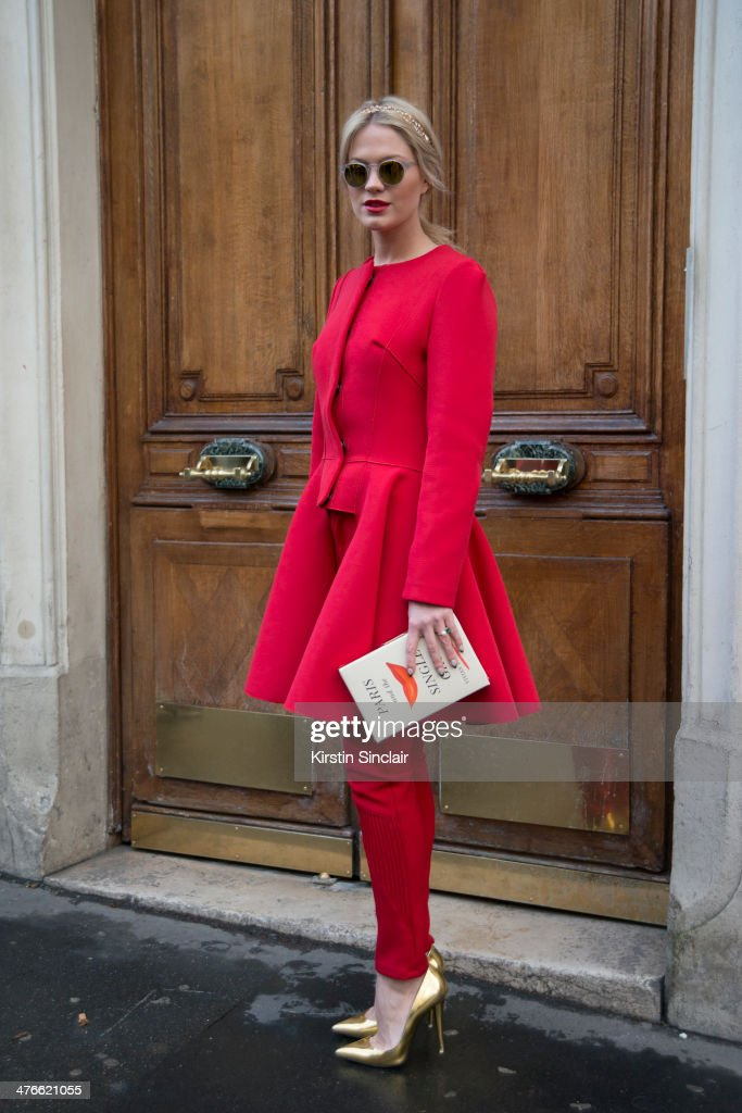 Fashion Stylist Zosia Slotala wears a Lukasz Jemiot coat and trousers Kate Spade bag and Giuseppe Zanotti shoes on day 4 of Paris Collections Women...
