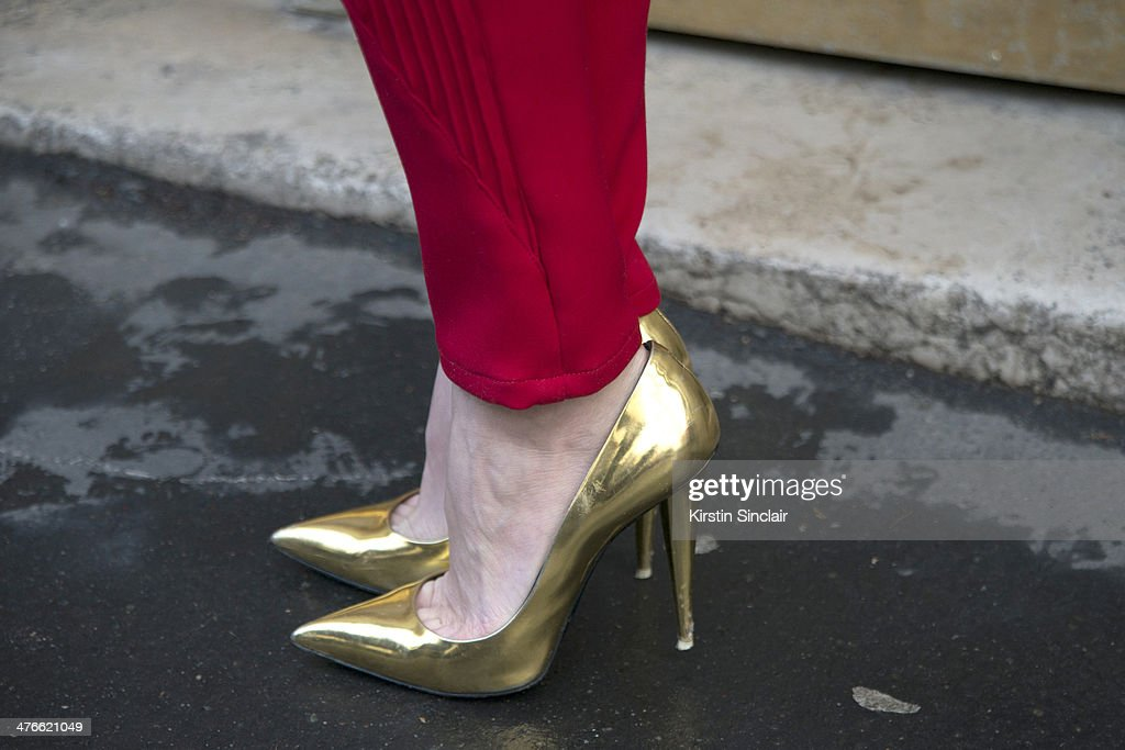 Fashion Stylist Zosia Slotala wears a Lukasz Jemiot trousers and Giuseppe Zanotti shoes on day 4 of Paris Collections Women on February 28 2014 in...