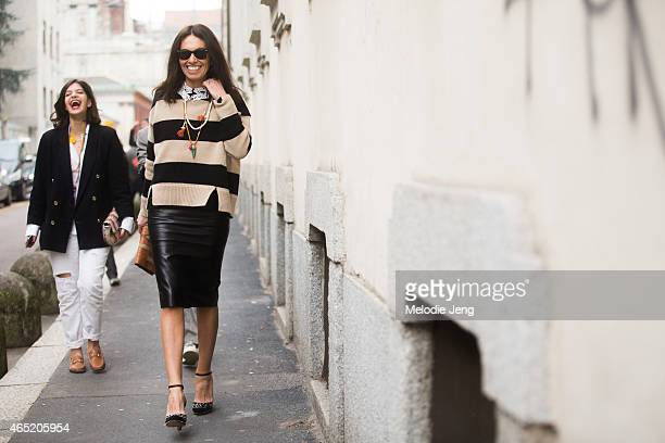 Fashion Stylist/Consultant Viviana Volpicella enters the Roberto Cavalli show on February 28 2015 in Milan Italy