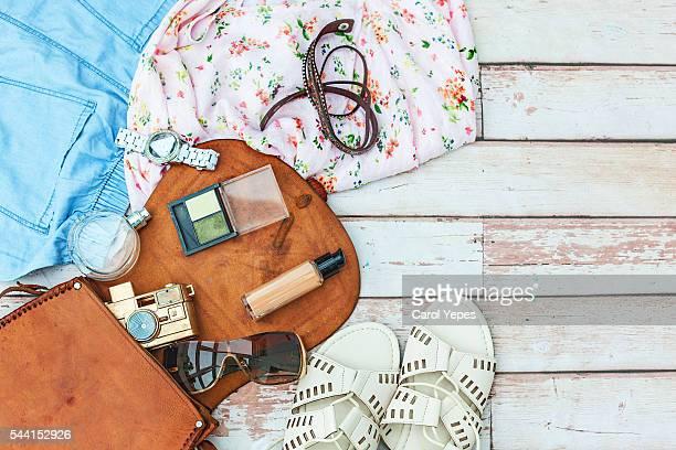 Fashion summer girl clothes accessories set Woman essentials.overhead