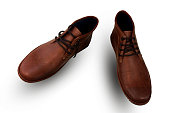 Fashion vintage brown leather shoes on white background