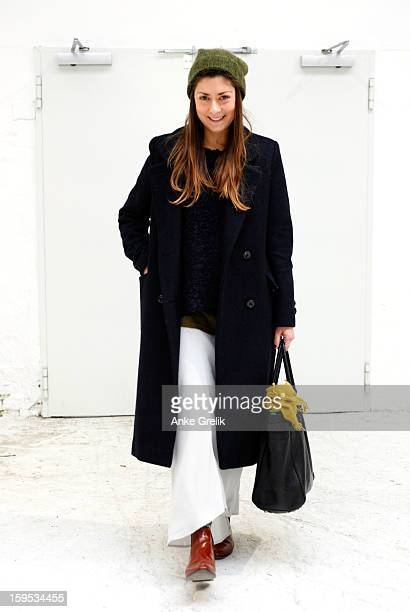 Fashion Week guest wearing James Pearce skirt attends Premium at MercedesBenz Fashion Week Autumn/Winter 2013/14 at venue on January 15 2013 in...