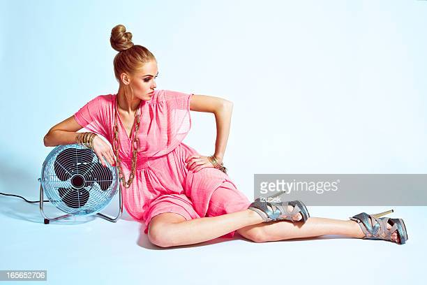 Fashion Woman with Fan