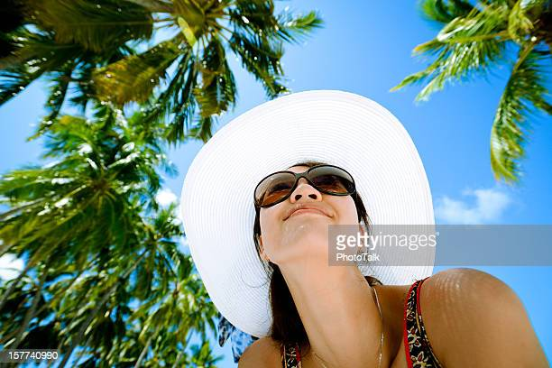 Fashion Woman With Palm Tree Background