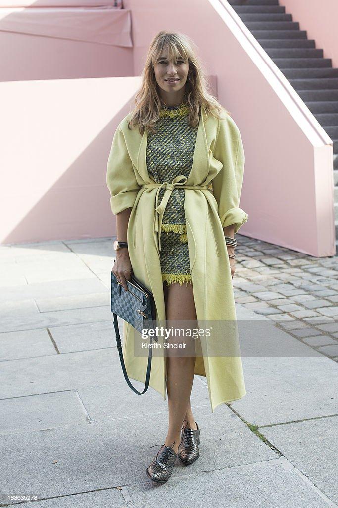 Fashion writer and actress Alexandra Golovanoff wearing Louis Vuitton on day 9 of Paris Fashion Week Spring/Summer 2014, Paris October 02, 2013 in Paris, France.