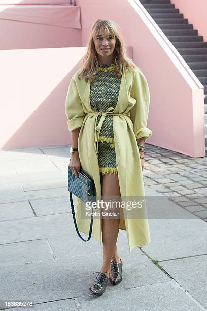 Fashion writer and actress Alexandra Golovanoff wearing Louis Vuitton on day 9 of Paris Fashion Week Spring/Summer 2014 Paris October 02 2013 in...