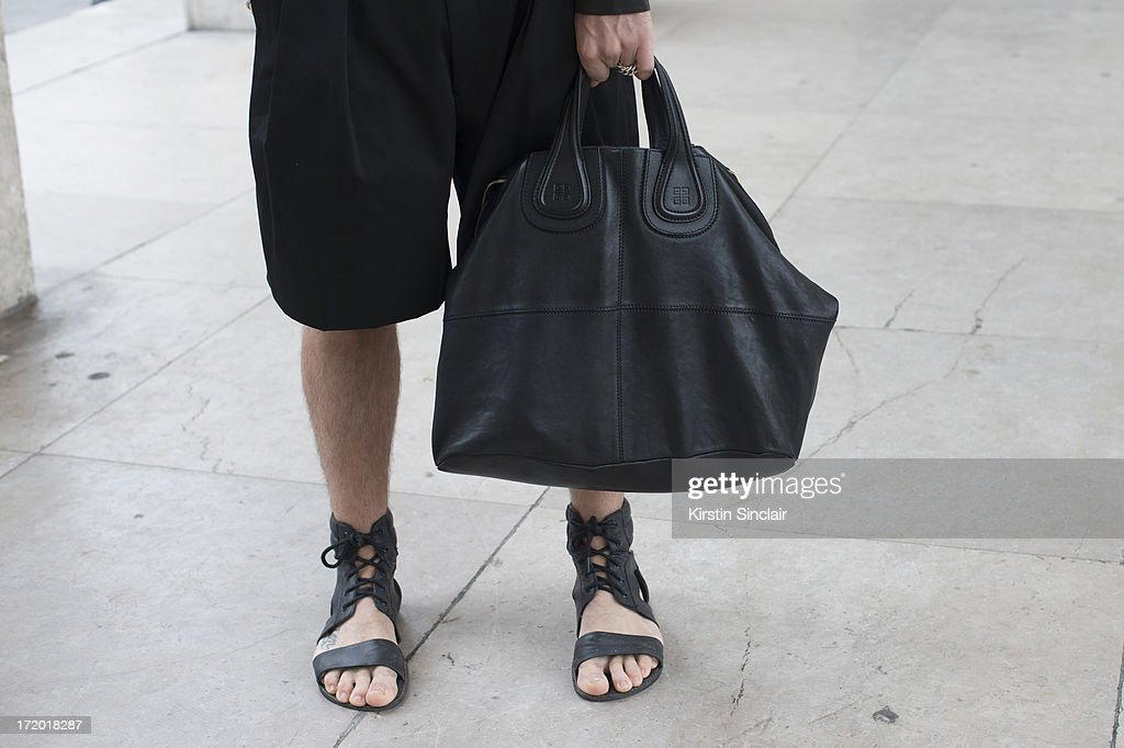 Fashion Writer Andrea Adamon wears Givenchy shorts, bag and shoes on day 3 of Paris Collections: Men on June 28, 2013 in Paris, France.