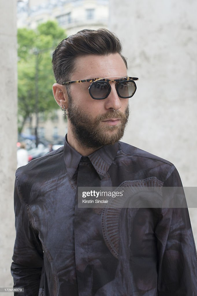 Fashion Writer Andrea Adamon wears Prada glasses, Givenchy shirt on day 3 of Paris Collections: Men on June 28, 2013 in Paris, France.
