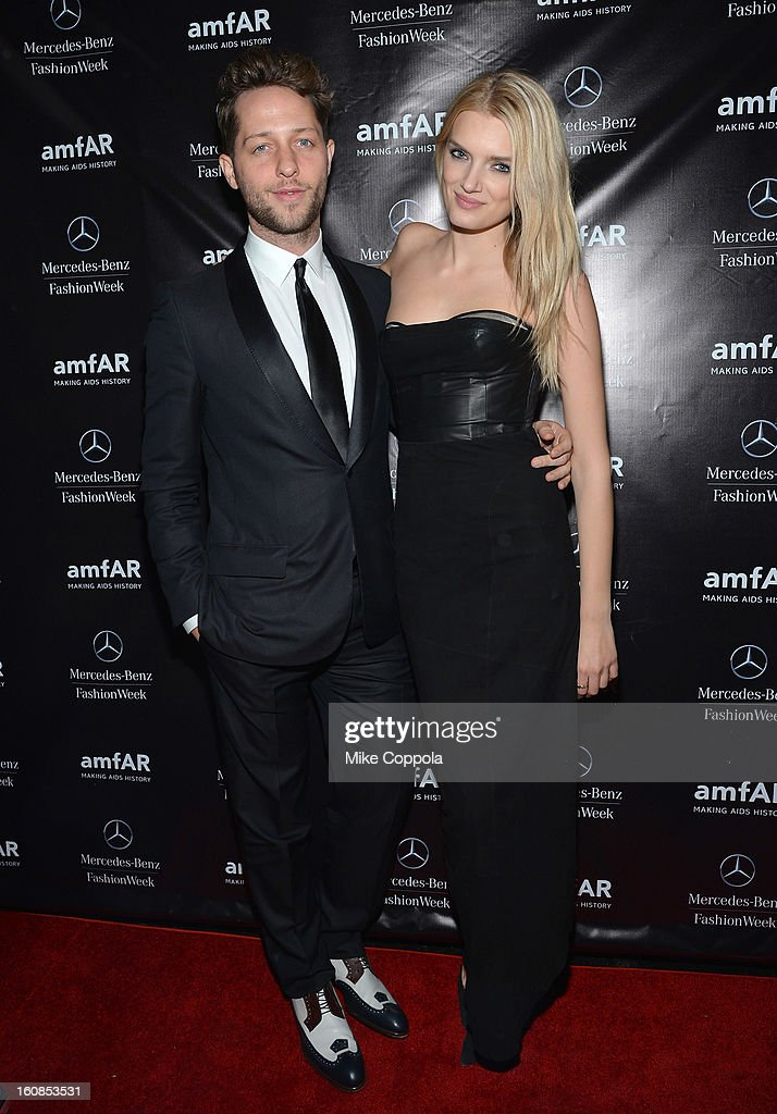 Fashion writer <a gi-track='captionPersonalityLinkClicked' href=/galleries/search?phrase=Derek+Blasberg&family=editorial&specificpeople=856710 ng-click='$event.stopPropagation()'>Derek Blasberg</a> and model <a gi-track='captionPersonalityLinkClicked' href=/galleries/search?phrase=Lily+Donaldson&family=editorial&specificpeople=469694 ng-click='$event.stopPropagation()'>Lily Donaldson</a> attend the amfAR Gala after party in celebration of Mercedes-Benz Fashion Week at SL on February 6, 2013 in New York City.