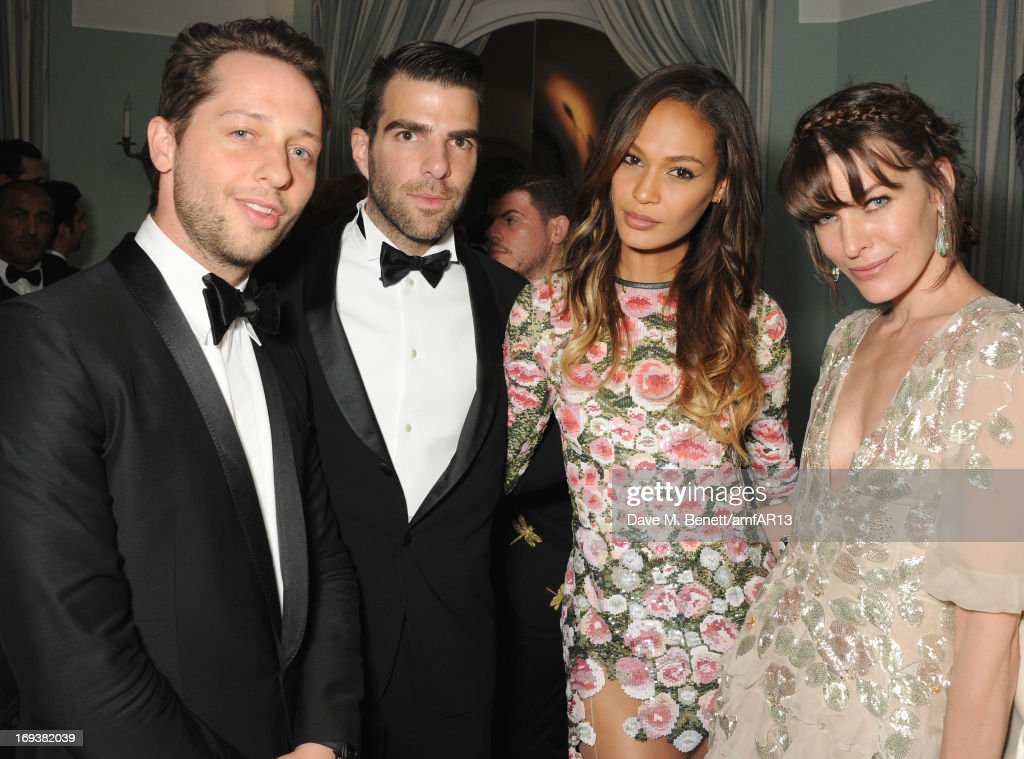 (L to R) Fashion writer <a gi-track='captionPersonalityLinkClicked' href=/galleries/search?phrase=Derek+Blasberg&family=editorial&specificpeople=856710 ng-click='$event.stopPropagation()'>Derek Blasberg</a>, <a gi-track='captionPersonalityLinkClicked' href=/galleries/search?phrase=Zachary+Quinto&family=editorial&specificpeople=715956 ng-click='$event.stopPropagation()'>Zachary Quinto</a>, <a gi-track='captionPersonalityLinkClicked' href=/galleries/search?phrase=Joan+Smalls&family=editorial&specificpeople=5714628 ng-click='$event.stopPropagation()'>Joan Smalls</a> and <a gi-track='captionPersonalityLinkClicked' href=/galleries/search?phrase=Milla+Jovovich&family=editorial&specificpeople=202207 ng-click='$event.stopPropagation()'>Milla Jovovich</a> attend 'Moncler, The After Party To Benefit amfAR' during The 66th Annual Cannes Film Festival at Hotel du Cap-Eden-Roc on May 23, 2013 in Cap d'Antibes, France.