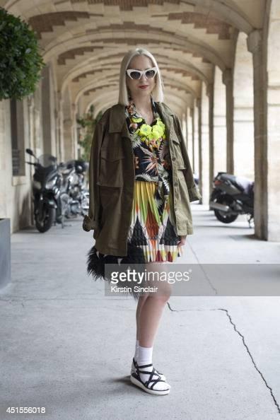 Fashion writer for Dapper Dan Magazine Elena Psalti wearing a Joanna Pybus bag Miu Miu sunglasses Marc by Marc Jacobs jacket vintage shirt Zara...