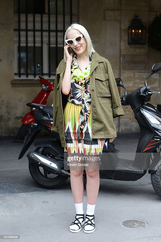 Fashion writer for Dapper Dan Magazine Elena Psalti wearing a Joanna Pybus bag, Miu Miu sunglasses, Marc by Marc Jacobs jacket, vintage shirt, Zara sandals and an Etro skirt on day 1 of Paris Collections: Men on June 25, 2014 in Paris, France.
