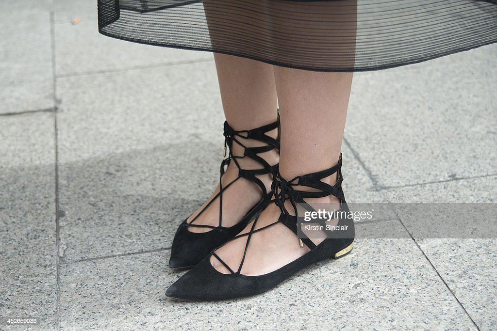 Fashion Writer Julia Warner wearing Aquazzura shoes day 2 of Paris Haute Couture Fashion Week Autumn/Winter 2014 on July 7 2014 in Paris France