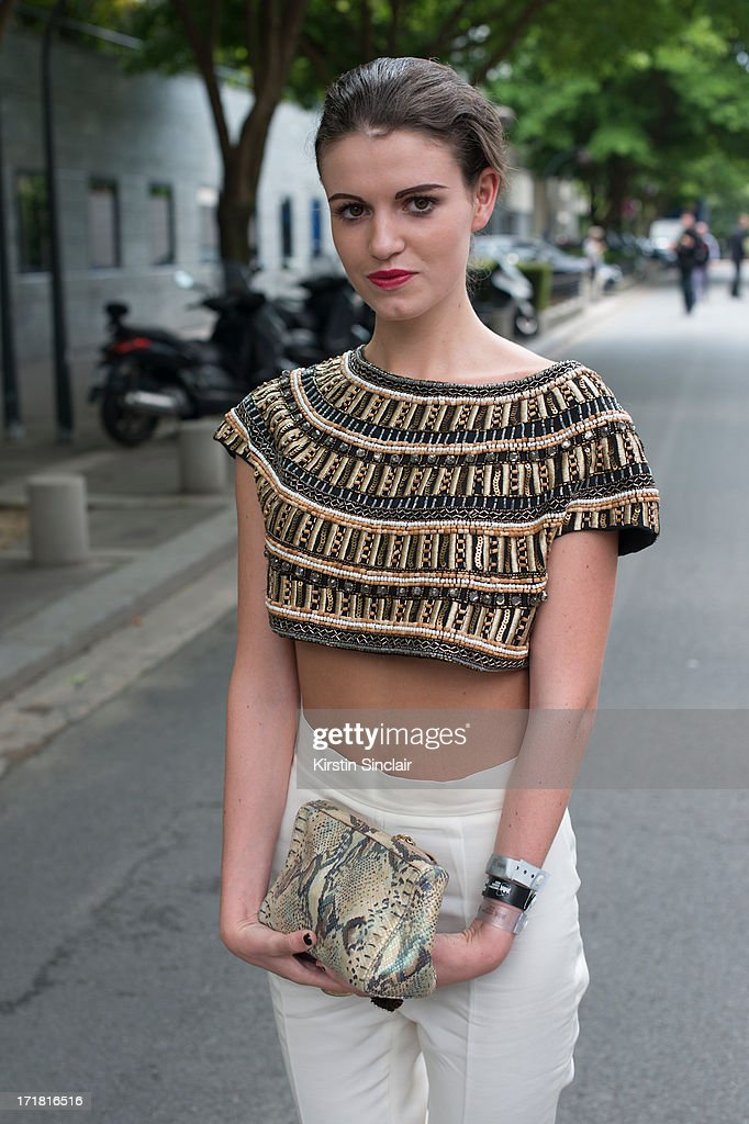 Fashion Writer Michelle Penders wears H and M trousers, Zara top and a Pensato bag on day 3 of Paris Collections: Men on June 28, 2013 in Paris, France.