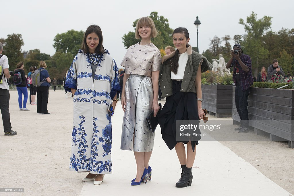 Fashion Writer Natasha Goldenberg wearing Valentino, Fashion Designer Vika Gazinskaya wearing her own design and Fashion Writer Natalia Alaverdian on day 8 of Paris Fashion Week Spring/Summer 2014, Paris October 01, 2013 in Paris, France.