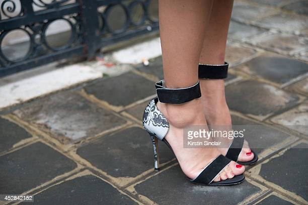 Fashion writer Nausheen Shau wearing Nicolas Kirkwood shoes day 5 of Paris Haute Couture Fashion Week Autumn/Winter 2014 on July 10 2014 in Paris...