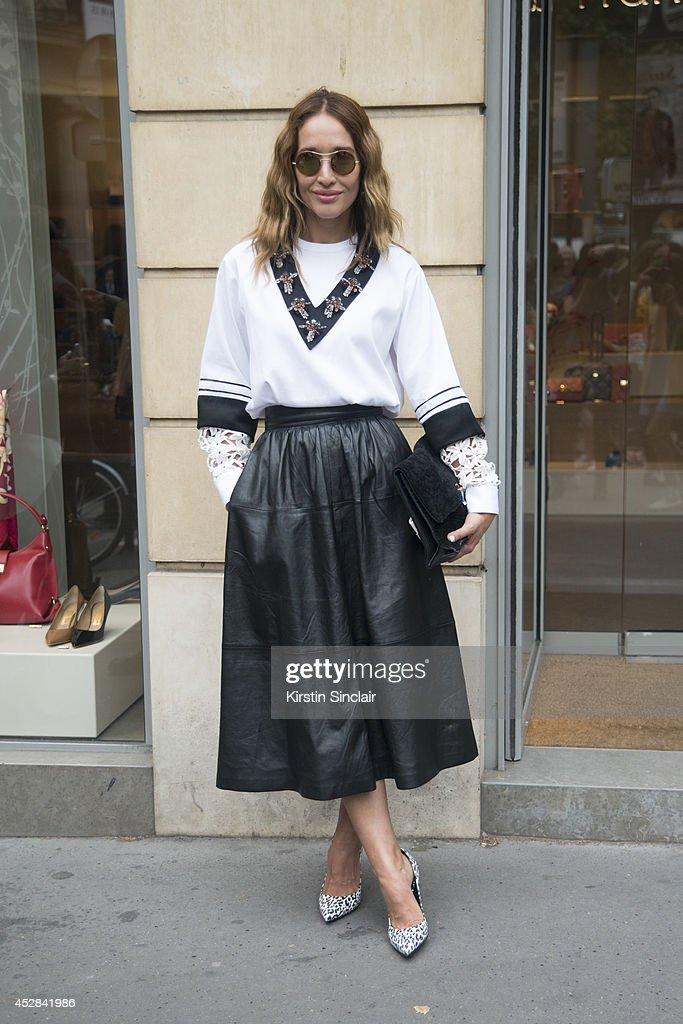 Fashion writer Tiany Kiriloff wears a Chloe top Paule Ka skirt Girogio Armani collar Saint Laurent shoes Kyne sunglasses and a Proenza Schouler bag...