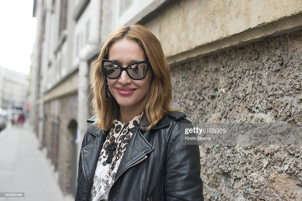 Fashion writer Tiany Kiriloff wears Chanel sunglasses, Mother Of Pearl dress and Balanciaga jacket on day 6 of Paris Fashion Week Spring/Summer 2014, Paris September 29, 2013 in Paris, France.