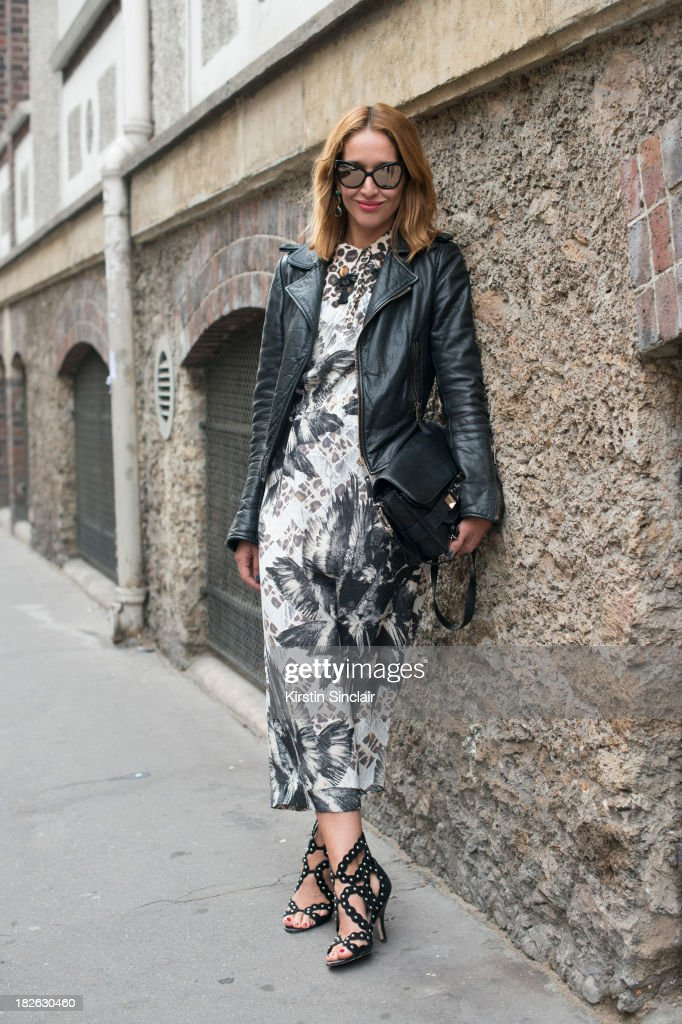 Fashion writer Tiany Kiriloff wears Chanel sunglasses, Proenza Schouler bag, Mother Of Pearl dress, Balanciaga jacket and Isa Tapia shoes on day 6 of Paris Fashion Week Spring/Summer 2014, Paris September 29, 2013 in Paris, France.